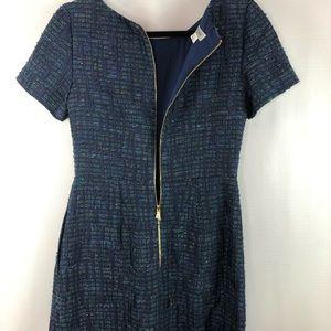 Kay Unger Dresses - Kay Unger Blue Tweed Chain Dress Sz 4